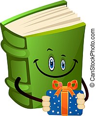 Green book holding a present, illustration, vector on white background.
