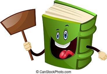 Green book holding a shovel, illustration, vector on white background.