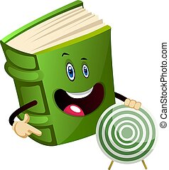 Green book holding a target, illustration, vector on white background.
