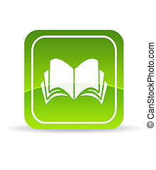 High resolution green book icon on white background.