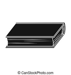 Green book icon in black style isolated on white background. Books symbol stock bitmap illustration.