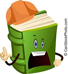 Green book is a construction worker, illustration, vector on white background.