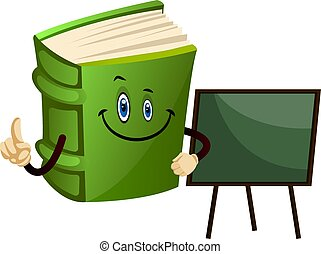 Green book is a teacher, illustration, vector on white background.