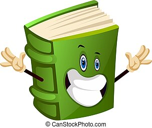 Green book is happy, illustration, vector on white background.