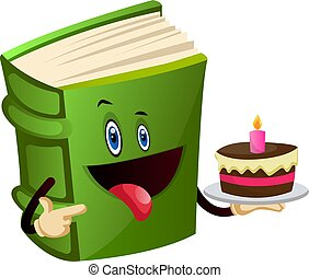 Green book is holding a cake, illustration, vector on white background.