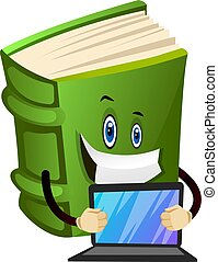 Green book is holding a laptop, illustration, vector on white background.