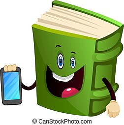 Green book is holding a mobile phone, illustration, vector on white background.