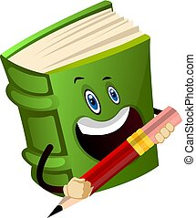 Green book is holding a pencil, illustration, vector on white background.