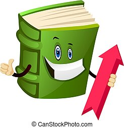 Green book is holding an up arrow, illustration, vector on white background.