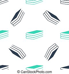 Green Books icon isolated seamless pattern on white background.  Vector