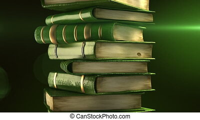 Green books stack with diploma