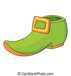 Green boot icon, cartoon style