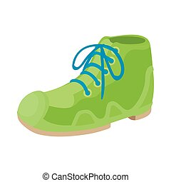 Green boot icon in cartoon style