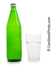 green bottle and glass of water