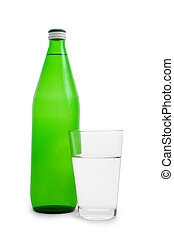 green bottle and glass with water
