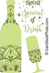 Green bottle champagne and glass wine. Vector