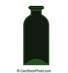 green bottle flat illustration on white