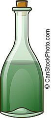 Green bottle icon, cartoon style
