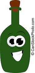 Green bottle, illustration, vector on white background.