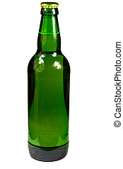 Green bottle of beer isolated on white background