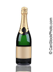 Green bottle of champagne with golden top.