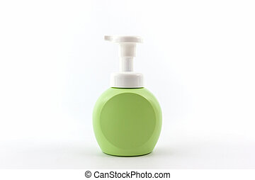 Green bottle on a white background.