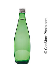 Green bottle. On a white background.