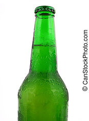 Green bottle with liquid