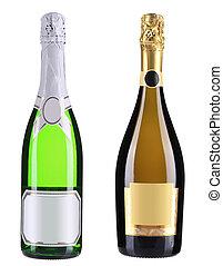 Green bottles of champagne.