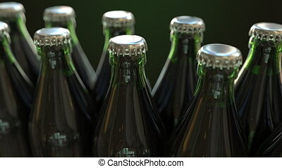 Green bottles on the conveyor, loopable animation - Green...