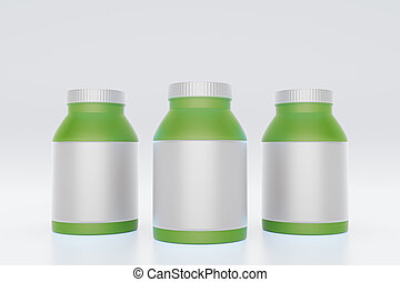 Green bottles with white labels
