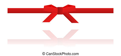 green bow and green ribbon on white background