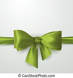 Green Bow And Ribbon. Vector Holiday Illustration....