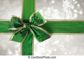 Green Bow and Ribbon with Bokeh Lights