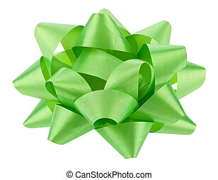 Green bow Isolated on a white background.