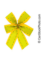 Green bow isolated on the white background