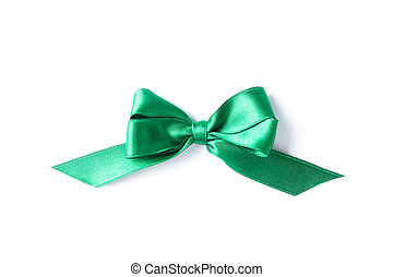 Green bow isolated on white background. Gift concept
