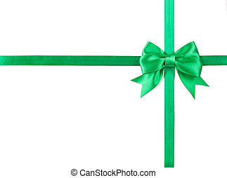 Green bow isolated on white background.