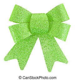 Green Bow, Isolated On White Background,