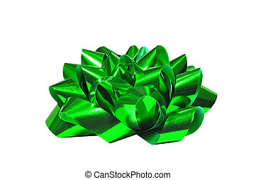 Green bow isolated on white background, for Christmas,...