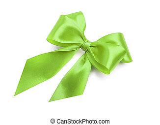 Green bow on white background.