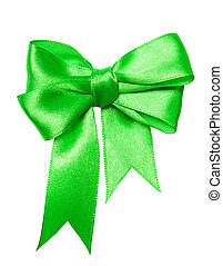 green bow, ribbon isolated on white