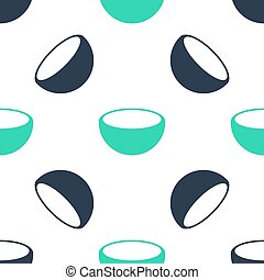 Green Bowl icon isolated seamless pattern on white background. Vector