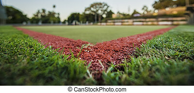 Green bowls lawn close up during the day.