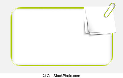green box for text with paper clip