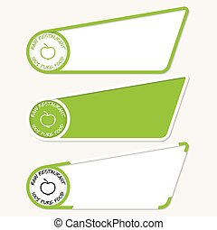 Green boxes for your text and icon of raw restaurant