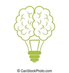 Green brain bulb icon design
