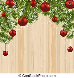 Green branch of fir with red balls and snowflakes on a background of wood. Christmas card. Christmas symbol. Happy New Year. illustration
