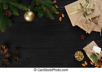 branches and christmas gifts