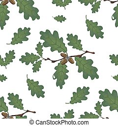 Green branches of oak with acorns and leaves. Seamless. Isolated on white background. illustration